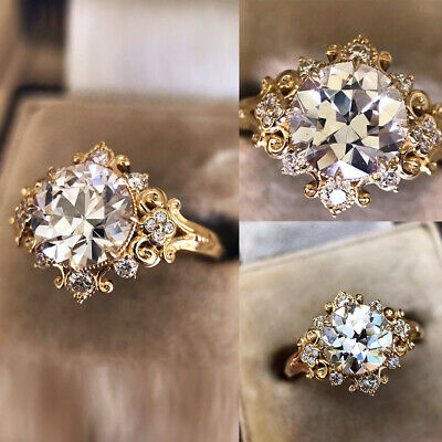 Women Ladies 18K Gold Plated Round Crystal Wedding Rings Engagement Jewelry Gift