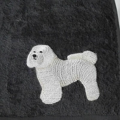 Bichon Frise Dog Embroidered Bath Towel, New Home Gift, Embroidered Gift