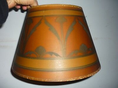Old Antique Mission Arts & Crafts Era Art Deco Nouveau Lamp Shade Stenciled Art