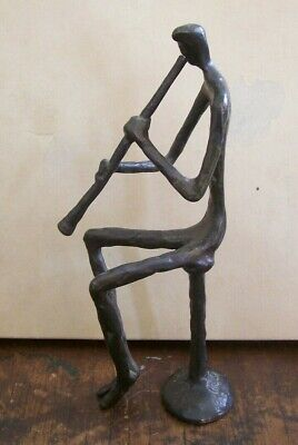 Vintage solid Bronze Seated oboist clarinetist musician 8.5-inch statue KimB