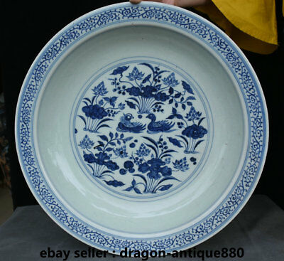 "16"" Old Chinese Royal Palace Blue White Porcelain lotus leaf Mandarin duck Plate"
