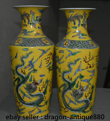 "18"" Kangxi Marked Chinese Old Wucai Porcelain Dragon Phoenix Bottle Vase Pair"