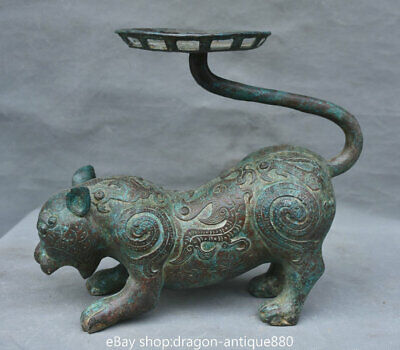 """10"""" Old Chinese Bronze Ware Dynasty Tiger Dragon Striation candlestick"""