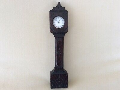 Antique Oak Wood Carved Grandfather Clock Pocket Watch Stand - 19th Century