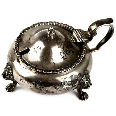 A Very Nice Antique Fully Hallmarked Solid Sterling Silver Lidded Mustard Pot