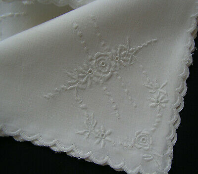 6 B'ful Vintage White Lawn Cotton Richly Hand Embroidered Roses Table Napkins