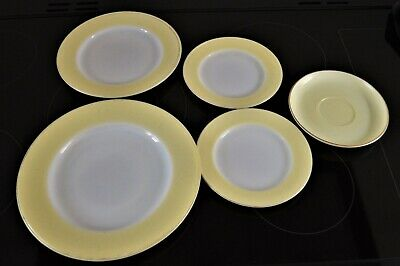 Pyrex Yellow Serving Dish, Plates, and Saucer  1960's 1970's vintage  7 items