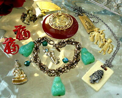 Vintage Asian Chinese Figural Buddha Costume Jewelry Lot Carved Celluloid Glass+