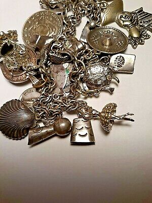 """VINTAGE STERLING SILVER CHARM BRACELET w 21 CHARMS 7"""" DOUBLE LINK + SAFETY CHAIN"""