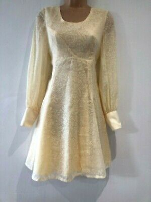 Vintage 70's Cream Burn Out Floral Long Sleeve Fit & Flare Occasion Dress 8-10
