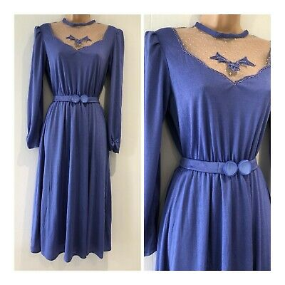 Vintage 70s Lilac Mesh Panel Long Sleeve Belted 40's Style Day Tea Dress Size 12