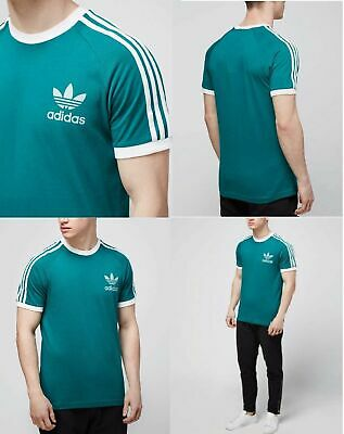 Adidas Originals Mens Trefoil California Tees Crew Neck T Shirt Green White NEW
