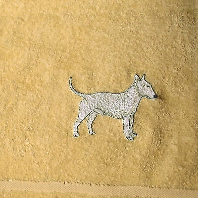 Bull Terrier Dog Embroidered Bath Towel, New Home Gift, Dog gift