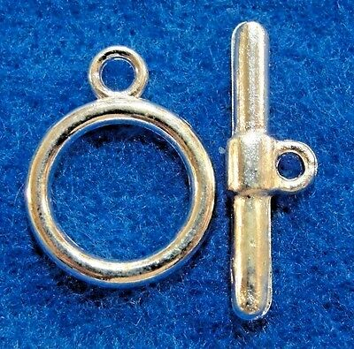 50pcs Tibetan Silver Bar Ring Toggle Clasp Connector Round  19x13.5//22x6mm