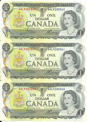Bank of Canada 1973 $1 One Dollar Lot of 3 Consecutive Notes Crow-Bouey GEM UNC