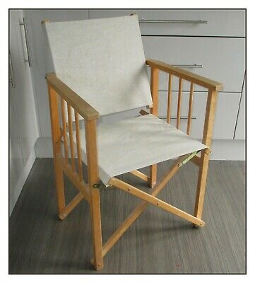 VINTAGE HYLLINGE MOBLER DIRECTORS CHAIR, 1970's. MADE IN DENMARK. WOOD+FABRIC.