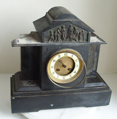 Vintage Marble / Slate Mantel Clock by Japy Freres for Restoration