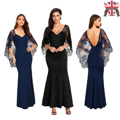 Womens Maxi Evening Dress Sheer Lace Cape Sleeve VNeck Ruched Fishtail Patchwork