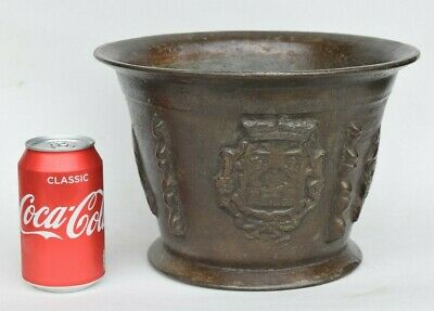 An UNUSUALLY LARGE SPANISH or FRENCH (BORDER REGION) LEADED BRONZE MORTAR