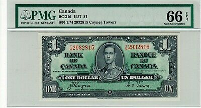 Bank of Canada, 1937 $1.00 Banknote, BC-21d, GEM UNC 66 EPQ