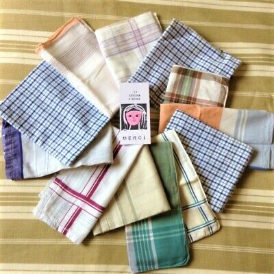 FRENCH 1950s MEN COTTON HANDKERCHIEFS - CHECK & PLAID PRINT - LOT OF 12 - NEW