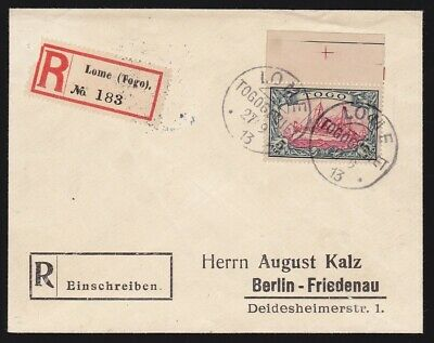 Togo : 1900 Yacht 5MK on Registered cover to Germany. Cat €1300