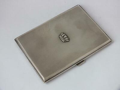Crown Motif Art Deco Solid Sterling Silver Cigarette Case 1930/ L 11.1 cm/ 175g
