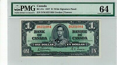 Bank of Canada, 1937 $1.00 Banknote, BC-21c, CUNC-64.