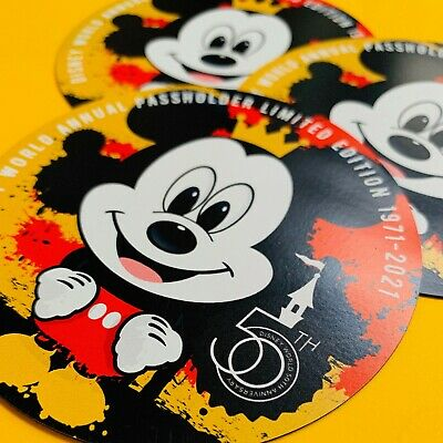 Disney fan art 50th Anniversary Passholder Magnet featuring Mickey Mouse