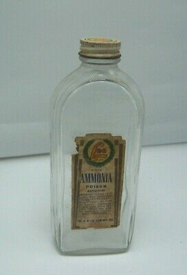 Vintage H. D. Lee Mercantile Co. Ammonia Bottle H. D. Lee Label & Lid