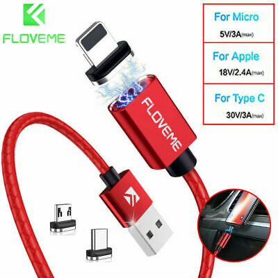 FLOVEME 3A Magnetic Micro USB Type-C Fast Charger Data Cable IOS Android Phone