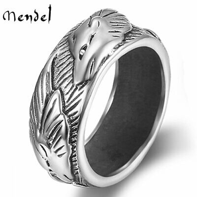 MENDEL Mens Engagement Viking Wolf Wedding Band Ring Stainless Steel Size 8-13