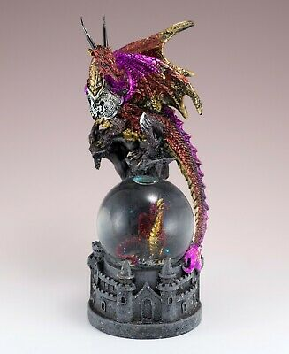 """Red and Pink Dragon Figurine With Snow Globe On Castle 8""""H Resin New In Box!"""