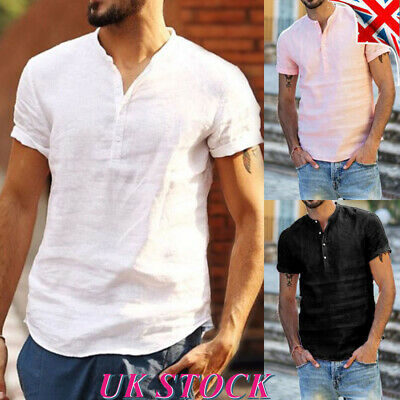 Mens Button V Neck Slim Fit Tops Short Sleeve Summer Casual T Shirt Blouse Tee