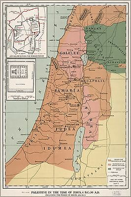 Poster, Many Sizes; Map Of Palestine Israel At Time Of Jesus Pb1912