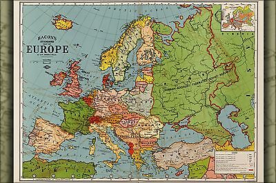 Poster, Many Sizes; Map Of Europe; Spain France Germany Italy Greece Poland Engl