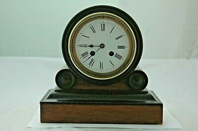 Antique Walnut Japy Freres Mantle Clock With Key.