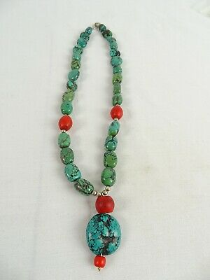 Windsong Collection Large American  necklace Antique Turquoise Red Glass Silver
