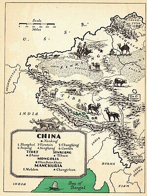 1946 Antique Animated CHINA Map Picture Map of China Mongolia Manchuria 6631