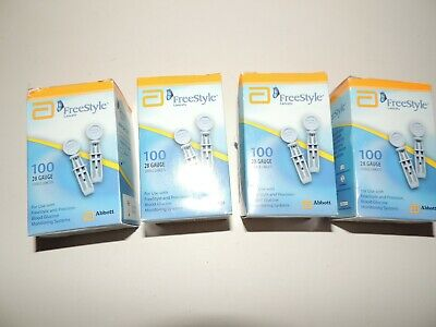 400 Count Freestyle 28G Lancets-4 Boxes of 100-NEW/Sealed-EXP 2020