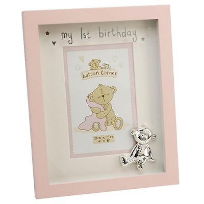 Button Corner 1st Birthday Photo Frame – with Teddy Attachment - Pink for Girl