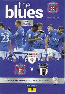 Carlisle United Match Day Programmes 2018-19 Home Only