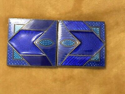 Art Deco Enamel GUILLOCHE Belt Buckle Gorgeous