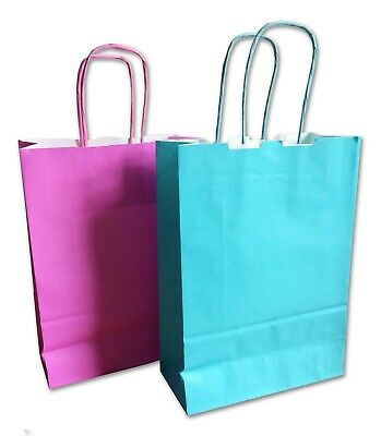 Pink and Blue Baby Shower Favour Empty Paper Bags Goodies UK Seller
