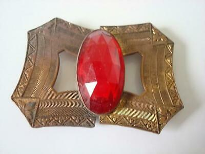 Vintage Antique Metal 2 Piece Sash Buckle With Faceted Red Glass Jewel As Found
