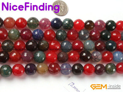 """Natural Round Multi Color Agate Onyx Faceted Stone Beads For Jewelry Making 15"""""""