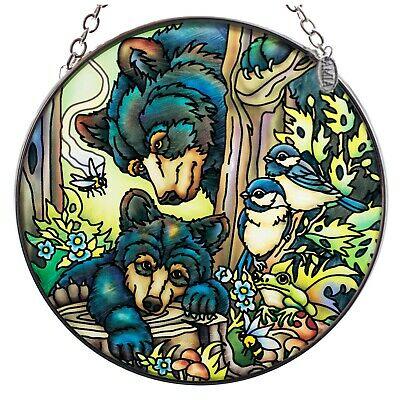 """Bears Bees and Chickadees Suncatcher Hand Painted Glass By AMIA Studios 4.5"""""""
