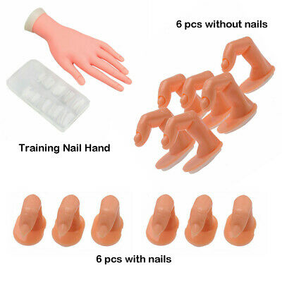 Practice Nail Art Trainer Training Hand & Fake Fingers Acrylic Gel False Tip Kit