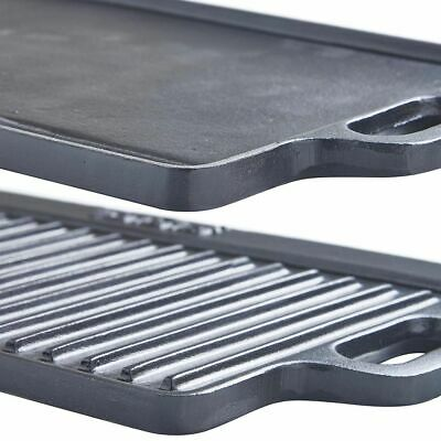 Large Reversible Cast Iron Non Stick Griddle Pan Grill Tray Cooking Plate 50cm