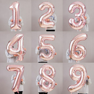 Big 40'' Rose Gold Giant Foil Number BALLON Self Inflating BALLOONS Birthday Age